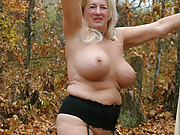 Grandmother taking sexy nudes outdoors
