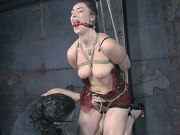 Sister Dee busty stripped for bondage and sex toying by maledom