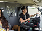Hitchhiking asian teen gets tied up and drilled hard in a van