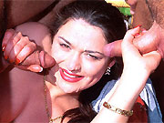 Busty slut in stockings fucks with two guys outdoor