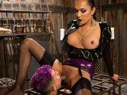 Jessica Fox latex ts using cock on cage submissive Corbin Dallas