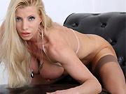 Lara De Santis busty blonde in stockings shows striptease