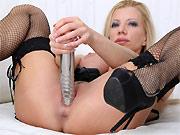 Lara De Santis busty blonde in black stockings toying