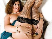 Gilly Sampson bigboobs mom in black stockings toying