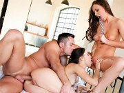Tina Kay and Lilu Moon in lingerie having trio fun with Renato