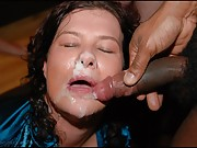 a british WIFE over 40 drenched in a bukkake party