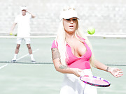Big tit blonde Brandi Bae does anal after tennis lessons