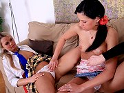 Young students Karina and Stefani seduced by lesbian mature teacher