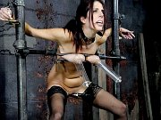 Lavender Rayne busty stockings babe toyed and masked in dungeon