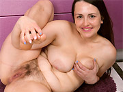 Busty milf housewife plays a hairy pussy on kitchen