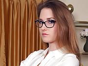 Horny POV babe fucks for jizz on her glasses