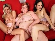 Teen Vanessa Jordin with a girlfriend seduced by mature lesbian fatty