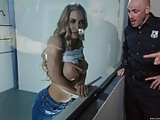 Gorgeous Nicole Aniston Flashes Her Perky Tits and Fucks Officer's Big Dick
