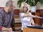 Young blonde student Liza seduced and fucked by her tricky old teacher
