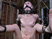 Calico Lane busty blonde chained naked in dungeon her pussy toyed