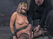 Lilyanna blonde is stripped and bound made to orgasm in dungeon