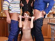 Timea Bella deep throated by three guys