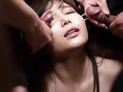 Surrounded by cocks Shino Aoi is bathed in 20 bukkake loads