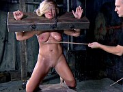 Dia Zerva busty blonde is bound stocked and fucked by maledom