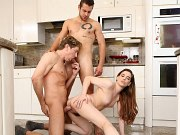 Bobbi Dylan kitchen brunette in bisexual trio with two hard guys
