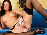 India Summer long-legged hottie in black stockings