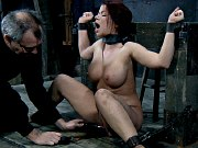 Sarah Blake busty brunette is bound in spread her hot ass spanked