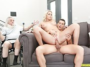 Blonde tittybabe fucks a hunk in front of her old husband