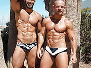 Hot guys wearing skimpy speedo swimsuits.