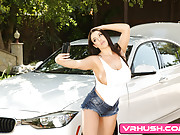Busty carwash babe gets drilled in every hole