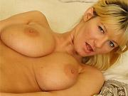 Lovely Vanessa bigboobs milf blonde toying a hairy twat