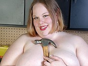 Fat hottie Shaela playing tools and modelling naked in the workshop