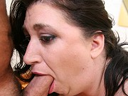 Fat brunette mature Dominique giving a blowjob and getting hardcored