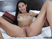 Braces and Tattoo on Shaven and Horny Thai BarGirl