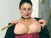 Fat mature Tanya Tung playing a fetish game with her massive boobs