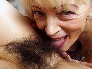 Granny Szuzanne licks Ole Nina young furry pussy