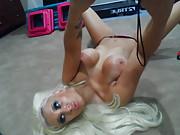 Hot blonde taking nude selfies