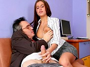 Teen student Anna Germiona seducing and fucking her lucky old teacher
