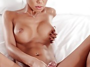 Trans beauty Miran strokes her cock until she is ready to burst cum