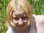 Blonde teen plumper Lauren stripping outdoors and modelling in the mud