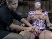 Beverly Hills is bound in rope for spanking and toying by lezdom