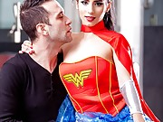 Europornstar Nelly Kent as Wonder Woman anal fuck