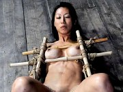 Tia Ling busty asian is bound for dildo orgasm fucking in dungeon