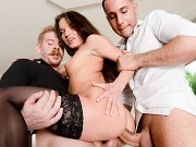 Anita Bellini stockings brunette is double fucked in trio by two