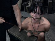 Elise Graves is rope bound mouth fucked and spanked by maledom