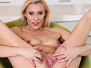 Brittany Bardot horny milf blonde fingers pussy close up