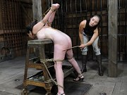 Fem Car is rope bound toyed and spanked by lezdom Sister Dee