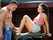 Alyssia Kent footjob for cumshot and pussy fucked on hot wheels