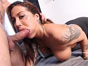 Busty bimbo deepthroats the director's cock at a sex casting