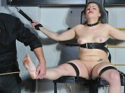 Caned feet and tit torture of tied slave Isabel De