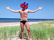 Here are a bunch of speedo selfies of me in my ADIDAS 3-stripe speedos.